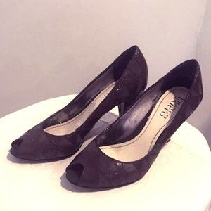 Open-Toe Suede/Leather Patch High Heels